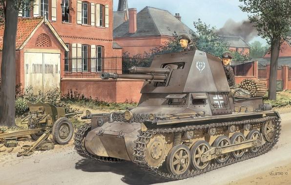 Картинка дорога, город, улица, рисунок, арт, Вторая мировая война, САУ, танкисты, немецкая, Panzerjäger I, противотанковая, Панцеръегер …