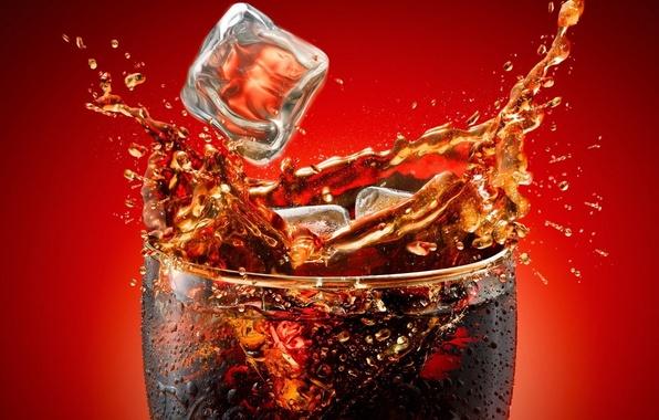 Картинка брызги, стакан, всплеск, напиток, кока-кола, Кола