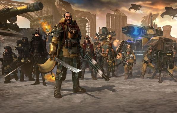 Картинка оружие, warhammer 40000, dawn of war 2, инквизитор, гвардия, имперская, retribution, лорд-генерал, карскины, огрины, катачанцы, …