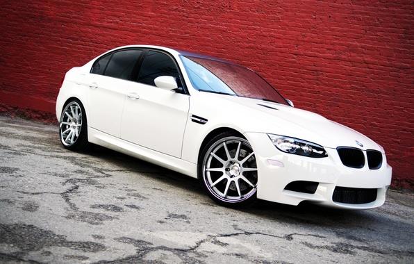 Картинка BMW, Белая, БМВ, white, Фары, tuning, sedan, E90