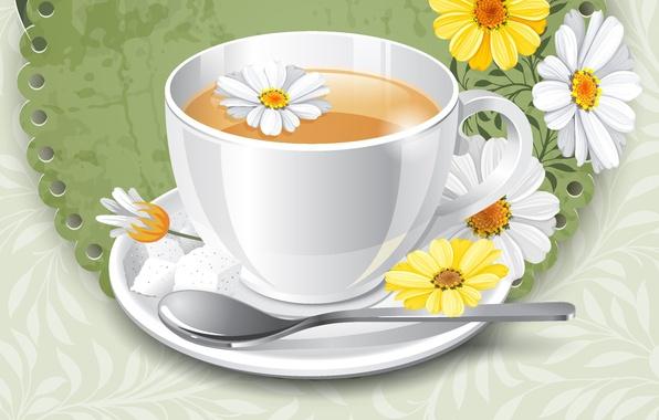 Картинка цветы, фон, чай, ромашки, чашка, блюдце