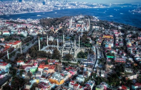Картинка HDR, панорама, Стамбул, Турция, Istanbul, Мечеть Султанахмет, Turkey, Голубая мечеть, Blue Mosque, Sultan Ahmed Mosque