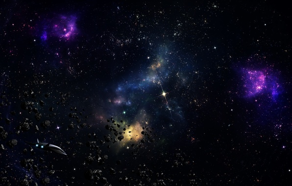 Картинка космос, звезды, корабль, астероиды