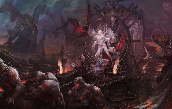 Картинка девушка, скалы, дракон, жертва, арт, цепи, демоны, лич, cheng