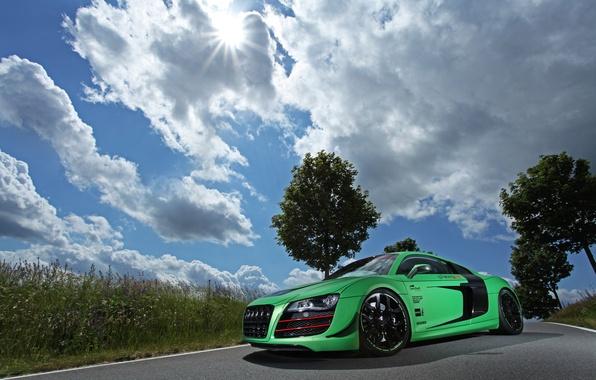 Картинка дорога, авто, небо, трава, облака, машины, audi, тюнинг, racing one