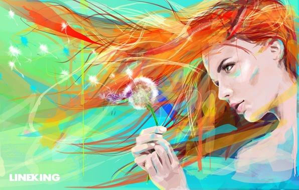 Картинка цветок, глаза, девушка, лицо, одуванчик, краски, волосы, рисунок, арт, живопись