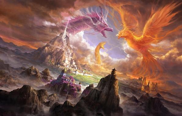 Картинка горы, город, замок, скалы, огонь, дракон, змея, арт, существа, змей, битва, феникс