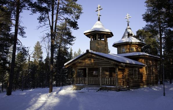 Картинка зима, природа, фото, храм, Финляндия, Lapland, монастырь. собор