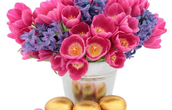 Картинка цветы, фон, праздник, яйца, пасха, тюльпаны, ваза