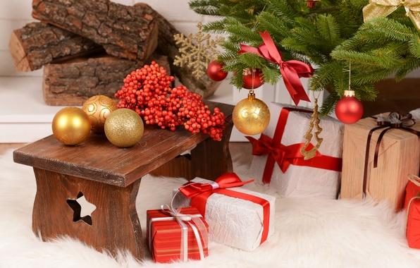 Картинка зима, шарики, ветки, ягоды, шары, игрушки, елка, ель, Новый Год, Рождество, подарки, красные, ёлка, золотые, …