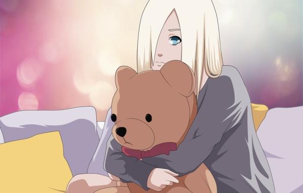 Картинка девушка, игрушка, медведь, naruto, yamanaka ino