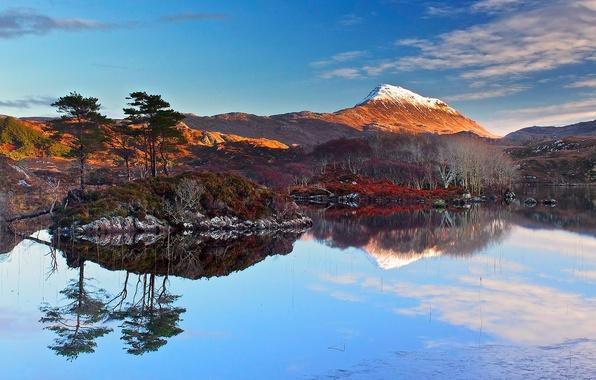 Картинка море, небо, облака, снег, деревья, закат, горы, озеро, отражение, остров, Шотландия