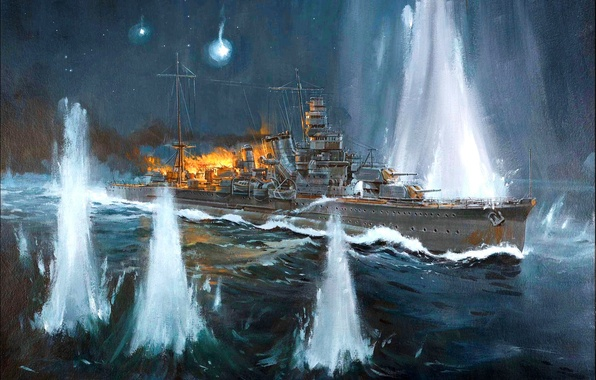 Картинка огонь, дым, рисунок, арт, выстрелы, японский, морской бой, WW2, «Furutaka», пролив Нью-Джорджия (Слот), тяжелый крейсер, ...
