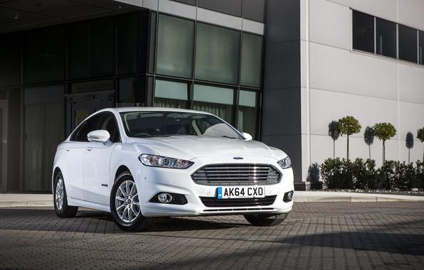 Картинка фото, Ford, Белый, Тюнинг, Автомобиль, Hybrid, Спереди, Mondeo, 2015