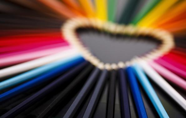 Картинка макро, любовь, розовый, настроения, сердце, цветные, карандаши, love, сердечко
