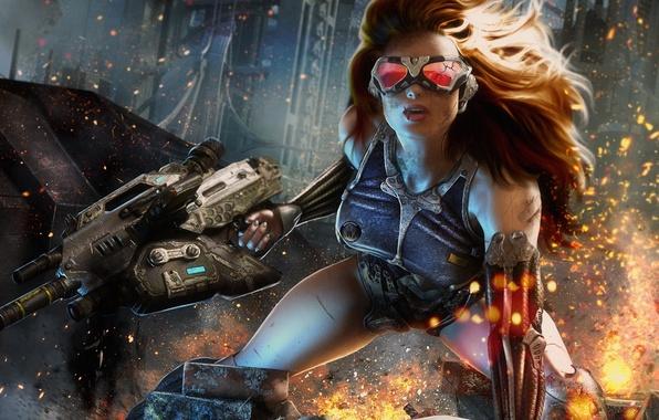 Картинка девушка, город, оружие, арт, очки, искры, автомат, шрам, трещина, раны, CRYSIS 4