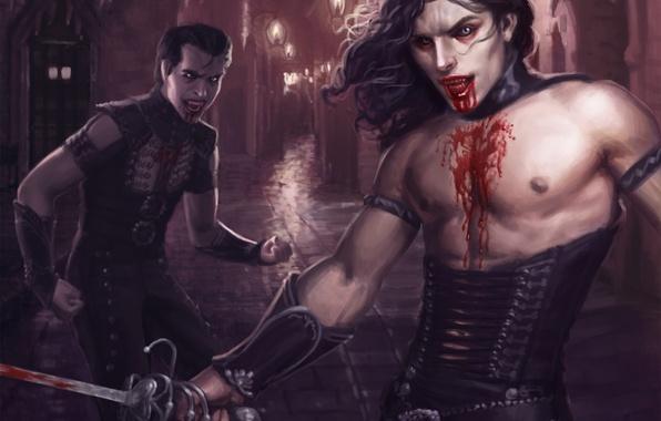 Картинка город, оружие, кровь, арт, фонари, переулок, парни, вампиры