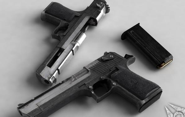 Картинка пистолеты, два, обойма, дигл