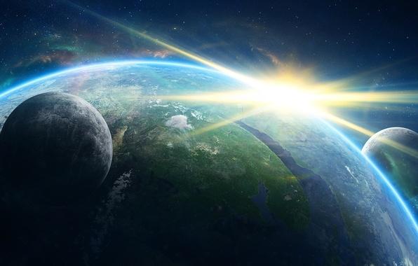 Картинка космос, планеты, Земля