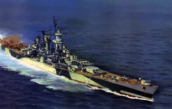 Картинка море, огонь, дым, рисунок, арт, Alaska, залп, крейсер, WW2, линейный, ВМФ США