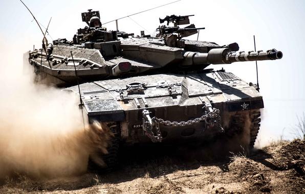 Картинка пыль, танк, боевой, Меркава, основной, Merkava, Израиля