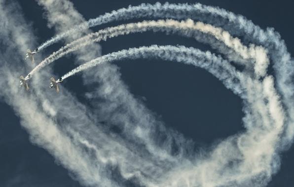Картинка небо, шоу, самолёты