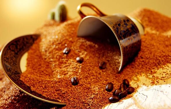 Картинка макро, кофе, зерна, чашка, brown, macro, cup, coffee, grains