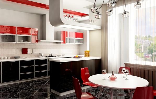 Картинка дизайн, стиль, стол, красное, стулья, бокалы, окно, кухня, люстра