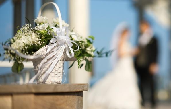 Картинка цветы, корзина, букет, лента, невеста, свадьба, боке, жених