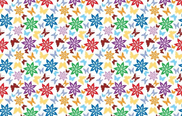 Картинка бабочки, цветы, фон, обои, рисунок, текстуры, орнамент