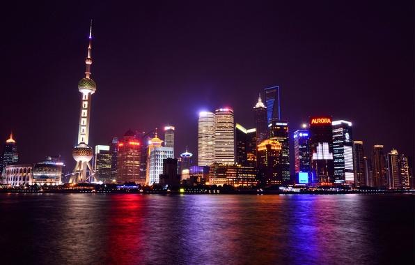 Картинка огни, отражение, река, China, небоскребы, подсветка, Китай, Shanghai, Шанхай, ночной город, набережная, мегаполис