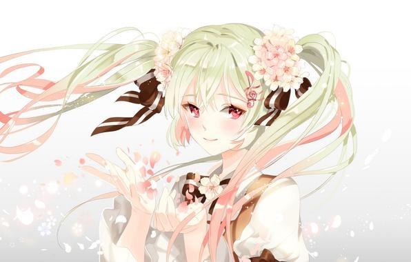 Картинка девушка, цветы, улыбка, аниме, лепестки, арт, vocaloid, sakura miku, platina77