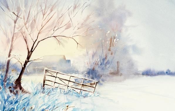 Картинка зима, пейзаж, картина, акварель