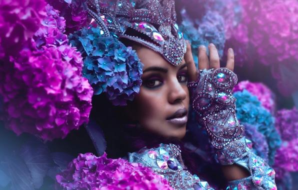 Картинка взгляд, девушка, украшения, цветы, лицо, стиль, макияж, гортензия, Yazzmin