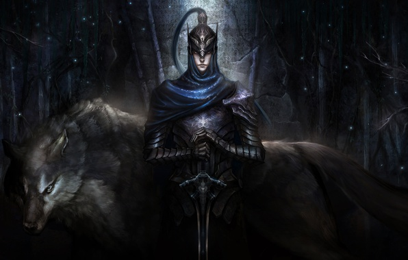 Картинка волк, воин, арт, шлем, броня, boss, Dark Souls, artorias, Knight Artorias, Artorias of the Abyss