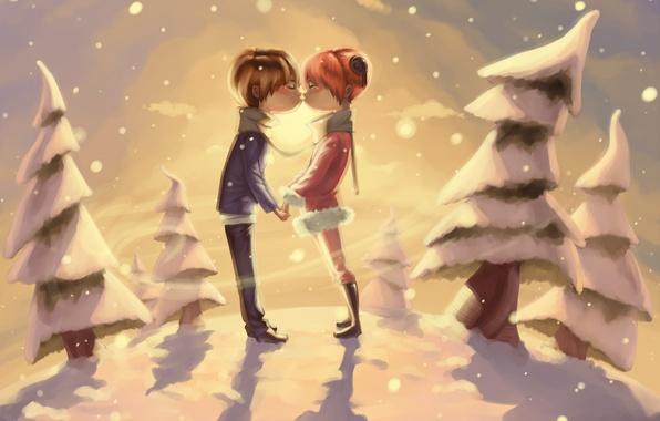 Картинка зима, снег, деревья, романтика, поцелуй, пара