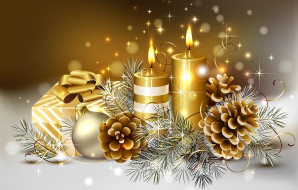 Картинка зима, цвета, ленты, золото, коробка, милая, мяч, красота, colors, свечи, Рождество, подарки, golden, золотой, красивая, …
