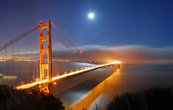 Картинка море, вода, свет, ночь, огни, города, океан, луна, вид, месяц, золотые ворота, америка, мосты, сша, …