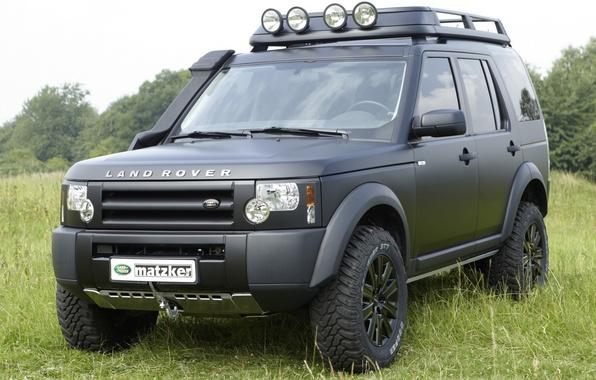 Картинка фон, чёрный, джип, внедорожник, Land Rover, передок, Ленд Ровер, Дискавери 3, Discovery 3, matzker