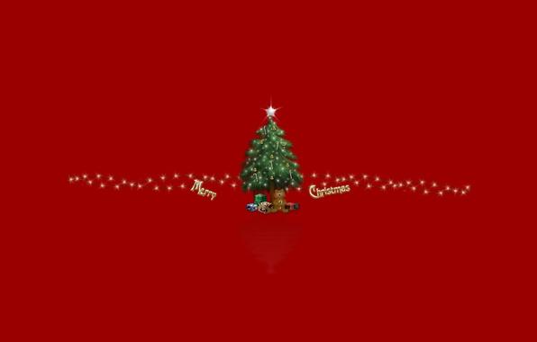 Картинка праздник, игрушки, елка, новый год, подарки, new year, красный фон, merry christmas, holiday, red bacground