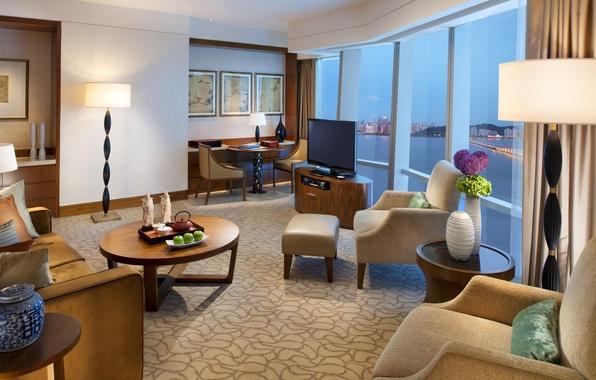 Картинка цветы, дизайн, стиль, стол, лампы, комната, диван, круглый, чай, яблоки, окна, интерьер, подушки, телевизор, кресла, ...