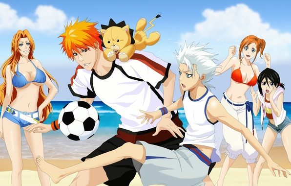Картинка море, пляж, купальник, девушки, футбол, игра, мяч, арт, парни, bleach, kurosaki ichigo, inoue orihime, kuchiki …