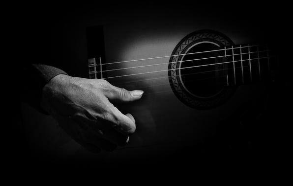 Картинка темнота, гитара, рука, струны, игрок