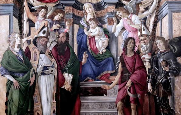 Картинка картина, Флоренция, Сандро Боттичелли, Мадонна на троне с четырьмя ангелами и шестью святыми, великий итальянский …