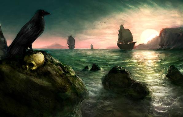 Картинка море, солнце, скалы, птица, рисунок, череп, парусник, корабли, ворон
