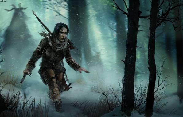 Картинка лес, девушка, снег, деревья, лук, Лара Крофт, Square Enix, Lara Croft, Crystal Dynamics, Rise of …