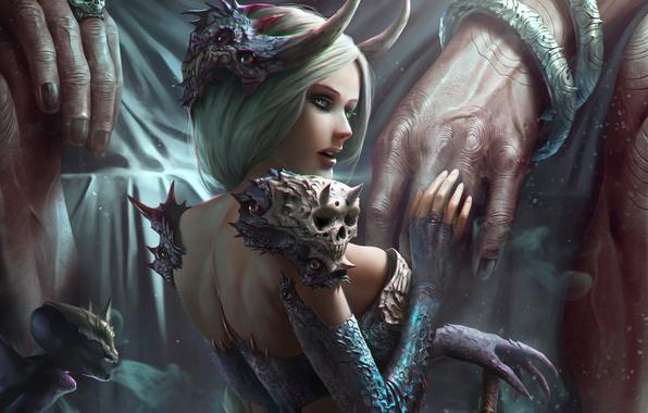 Картинка девушка, руки, демоница, Zeen Chin, чертёнок
