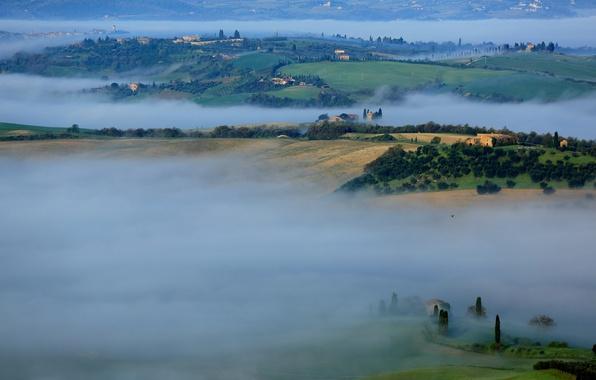 Картинка деревья, туман, дом, холмы, утро, Италия, Тоскана