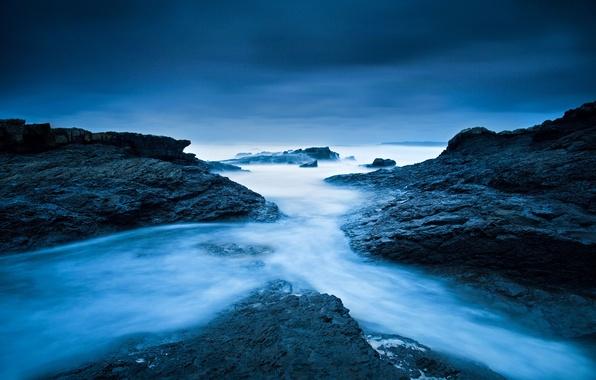 Картинка холод, зима, море, небо, вода, океан, скалы, берег, выдержка, Клэр, Ирландия, потоки, Атлантический океан, Спейниш-Порт, …