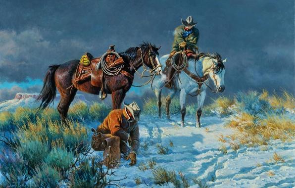 Картинка небо, снег, следы, тучи, лошадь, погоня, картина, ковбой, Clark Kelley Price, On The Rustlers Trail